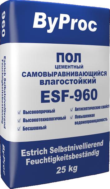 Пол цементный самовыравнивающийся влагостойкий ESF-960 25кг